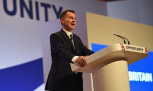 Jeremy Hunt speaking at the Conservative conference.