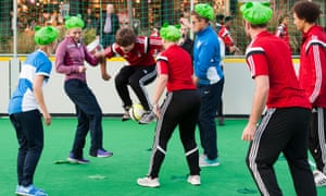 A game of Frogball at Game City festival in Nottingham. Players must stand on lilypads, and are only allowed to carry the ball between their legs.
