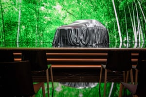 An IMQ concept electric car waiting to be unveiled at the stand of Japanese carmaker Nissan