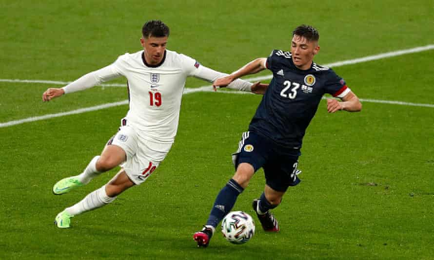 Scotland's standout performer Billy Gilmour shields the ball from Mason Mount.