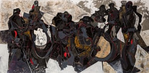 Jazz, oil and collage on canvas, 2014, by Peter Jackson