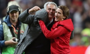 Manchester United manager Jose Mourinho celebrates victory with his son Jose Jnr .
