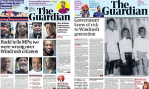 Guardian front pages with Windrush stories by Amelia Gentleman