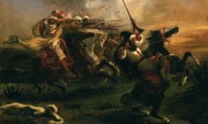 Exercices militaire des Marocains by Eugene Delacroix, 1832.