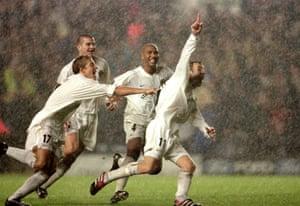 Lee Bowyer celebrates his winner gainst AC Milan at Elland Road in 2000.