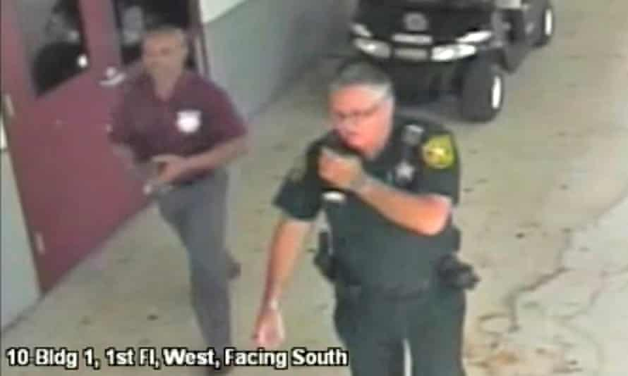 Scot Peterson is seen in this still image captured from school surveillance video, released by the Broward county sheriff's office.