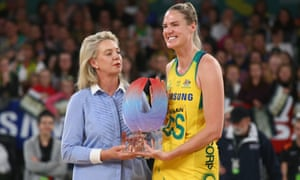Caitlin Bassett of the Diamonds after Australia won the netball Quad Series.