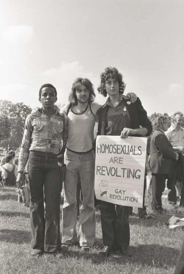 Brown with Peter Tatchell at the start of the first Gay Pride march in 1972.