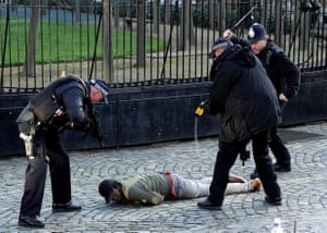 Armed police taser a man inside the grounds of the Houses of Parliament on 11 December 2018