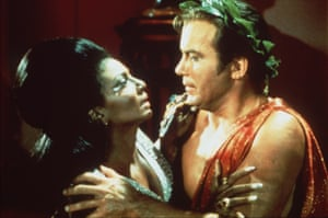 The kiss … Nichelle Nichols and William Shatner as Uhura and Kirk.