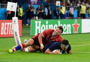Stuart McInally touches down for Scotland's ninth try.