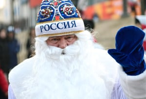 Father Frost, seen during a match between Olympic Athletes from Russia and Great Britain in the women's curling competition