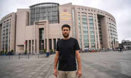 Andrew Gardner, Amnesty International's Turkey researcher in front of the courthouse in Istanbul.
