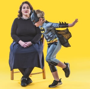 Tanya Gold with her son, who is dressed as Batman