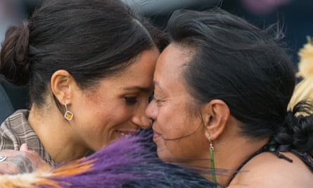 The Duchess of Sussex receives a traditional Maori greeting in Wellington on the royal tour last month.