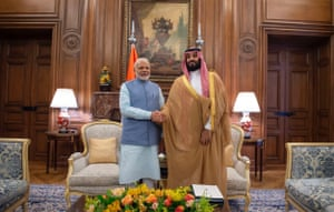 Crown Prince of Saudi Arabia Mohammad bin Salman meets with Prime Minister of India Narendra Modi prior to the summit