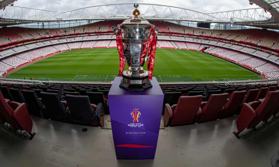 The Rugby League World Cup Trophy at a photocall in July.
