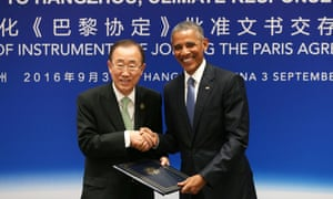 Barack Obama, right, and the UN secretary general, Ban Ki-moon, shake hands during a joint ratification of the Paris climate change agreement in Hangzhou, China, in September.