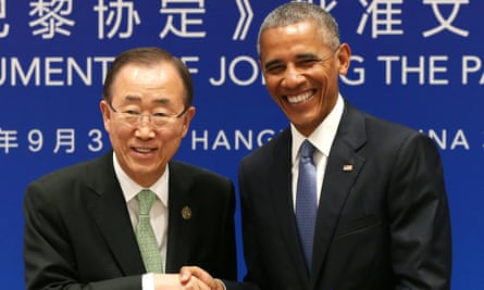 Barack Obama, right, and UN secretary-general Ban Ki-moon during a joint ratification of the Paris climate agreement at the West Lake state guest house in Hangzhou in eastern China