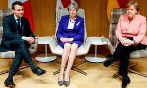 May met the German chancellor, Angela Merkel, and the French president, Emmanuel Macron