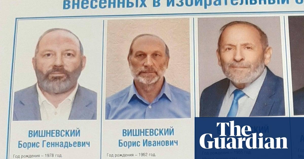 Three near-identical Boris Vishnevskys on St Petersburg election ballot
