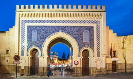 The Bab Bou Jeloud gate also known as The Blue gate at the medina of Fez, Morocco.