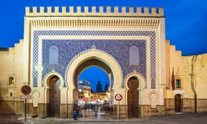 The Bab Bou Jeloud or Blue Gate at the medina of Fez, Morocco