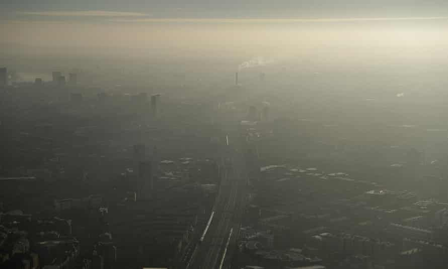Pollution haze seen over south-east London from the shard in 2017.