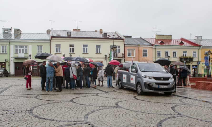 A small but enthusiastic turnout in the town square of Chełm, a stronghold of the ruling PiS party.