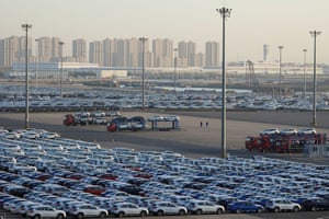 Newly manufactured cars at the automobile terminal in the port of Dalian, Liaoning province, China .