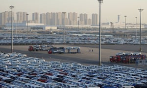 Newly manufactured cars at the automobile terminal in China
