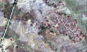 Satellite images of Rakhine state in December show dozens of empty villages and hamlets have been completely levelled by authorities