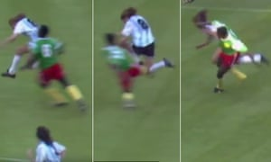 The three attempts by Cameroon players to stop Claudio Caniggia. Benjamin Manning made the third tackle to earn his second yellow card of the game.