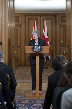 Theresa May giving her delayed press conference on Thursday evening