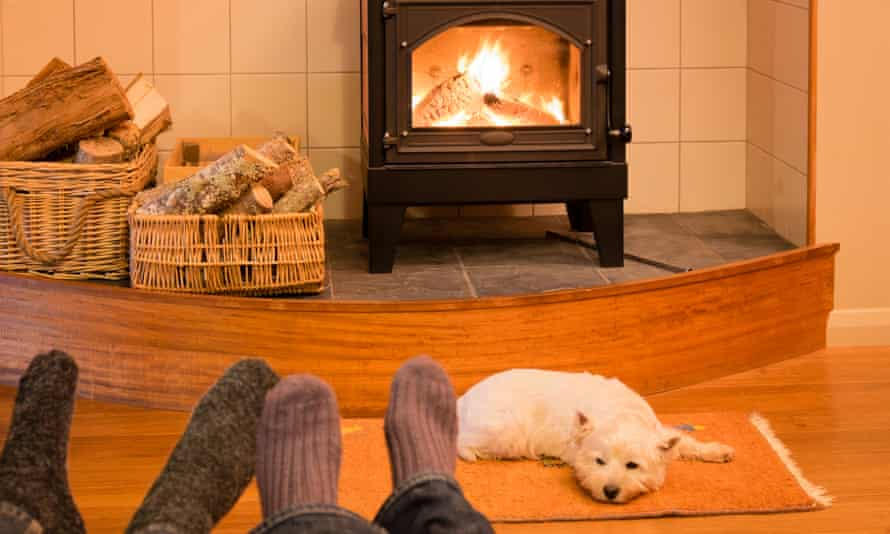 A couple relaxing by fire with a dog