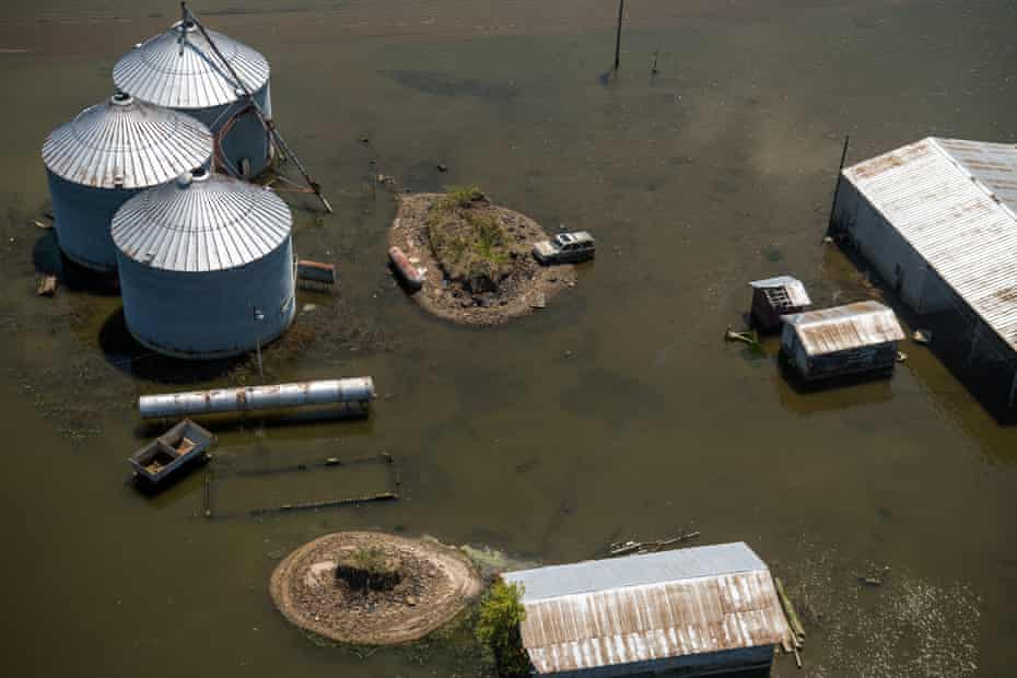 Backwater flooding surrounds a farm in Issaquena County.