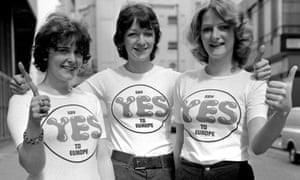 Women campaign to say 'yes' to Europe in the 1975 referendum.