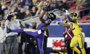 Baltimore wide receiver Miles Boykin catches a pass during their Monday Night Football romp against the Rams.