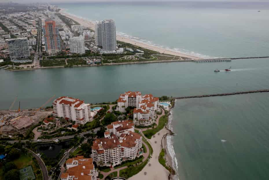 An aerial shot of Miami Beach and Fisher Island.