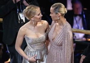 Scarlett Johansson, left, and Brie Larson.