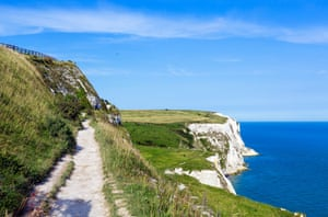 The cliff top trail at the White Cliffs of Dover in Kent.