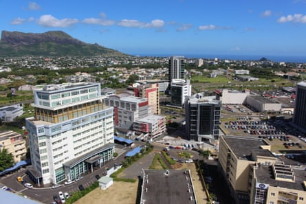 The core of Cybercity in Ebene, Mauritius, with the Indian Ocean in the background
