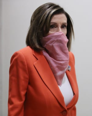 Nancy Pelosi covers up.