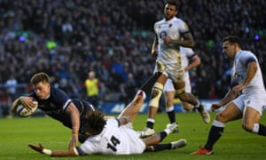 Huw Jones scores his second, and Scotland's third, try of a rampant first half against England at Murrayfield