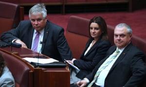 Jacqui Lambie with Centre Alliance senators Rex Patrick (left) and Stirling Griff