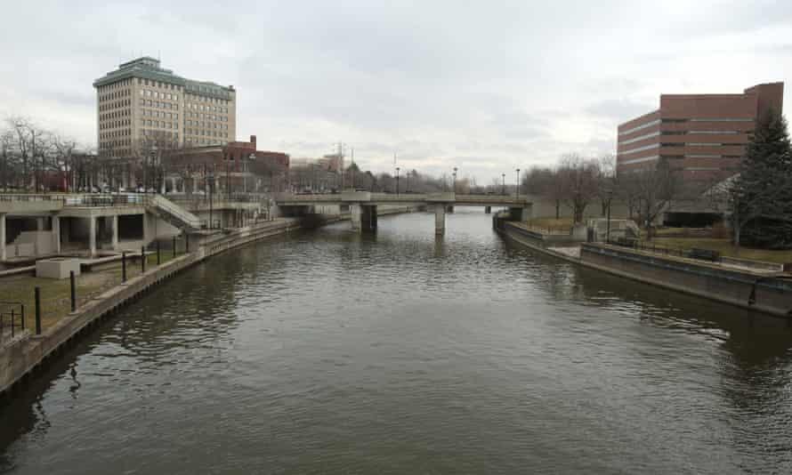 The Flint River flows through downtown Flint, Michigan, on 16 December 2015.