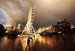 A rainbow over the Old Market Square in Nottingham.