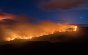 Ruined Castle Bushfire, in the Blue Mountains, on Sunday.