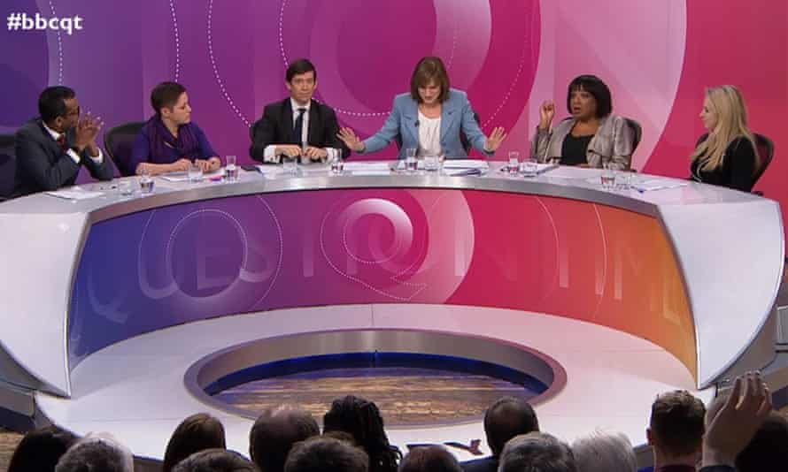 Guests on BBC's Question Time, hosted by Fiona Bruce, third from right.
