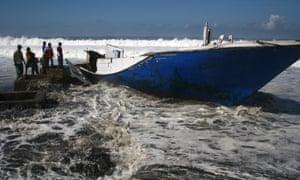 Wrecked asylum seeker boat
